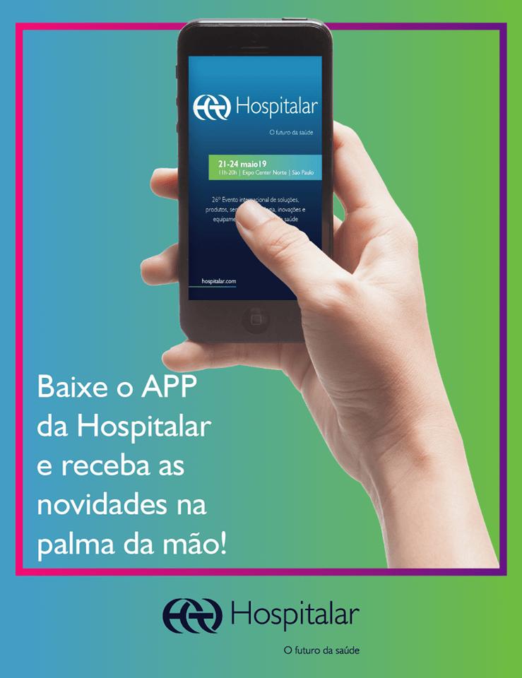 divulgação do aplicativo da Feira Hospitalar