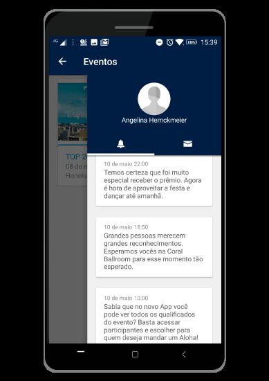 Exemplos de notificações que chegavam no aplicativo da PTC