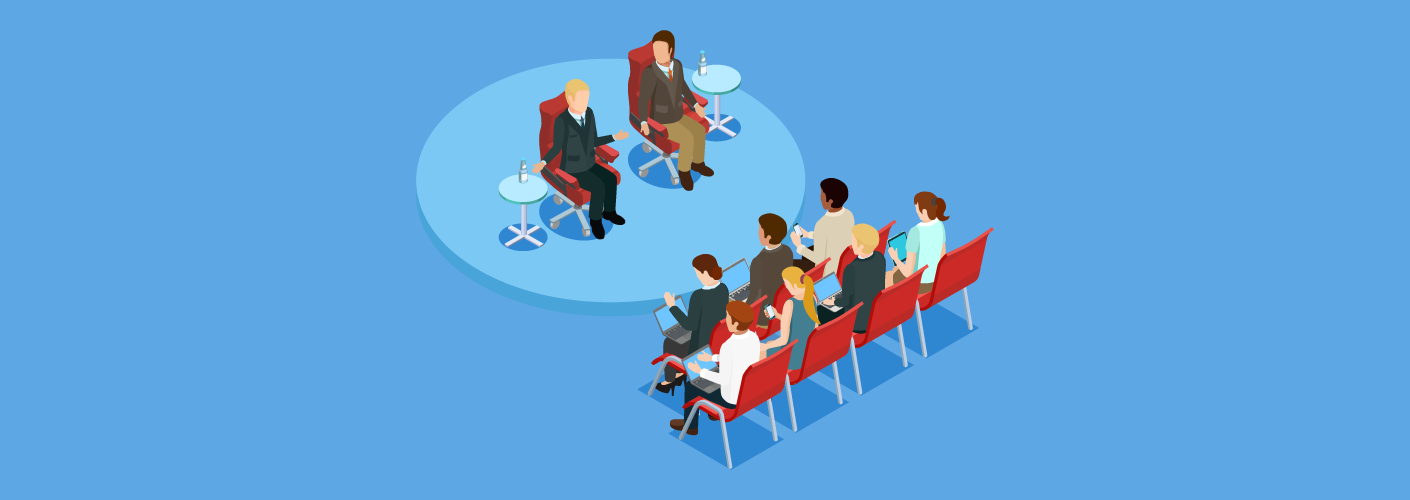 Pessoas reunidas em um evento empresarial