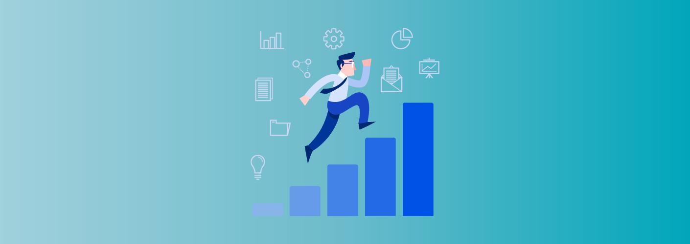 Organizador de eventos subindo escada de gráfico de barras para impactar o seu negócio