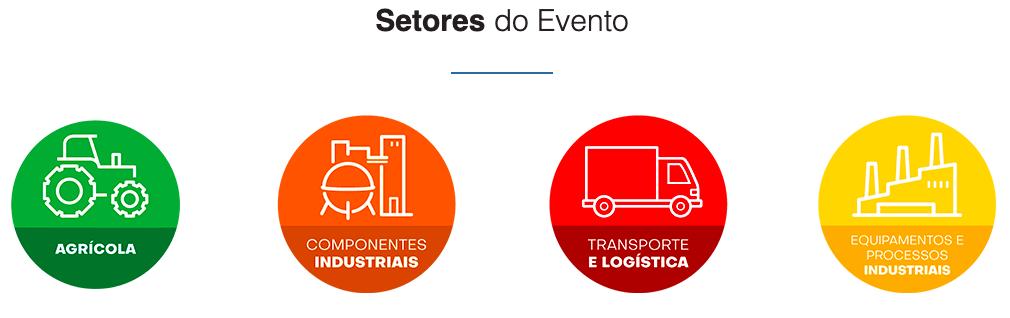 Setores do Evento: agrícola, componentes industriais, transporte e logística e equipamentos e processos industriais