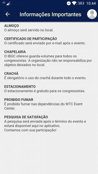 Área de informações do app do congresso IBGC