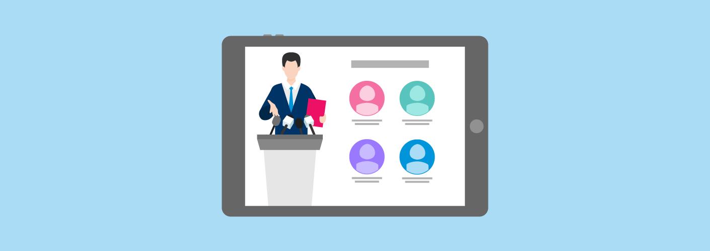 Modelo de palestra sendo vista por um tablet, mostrando a importância de fazer a curadoria de conteúdo em eventos