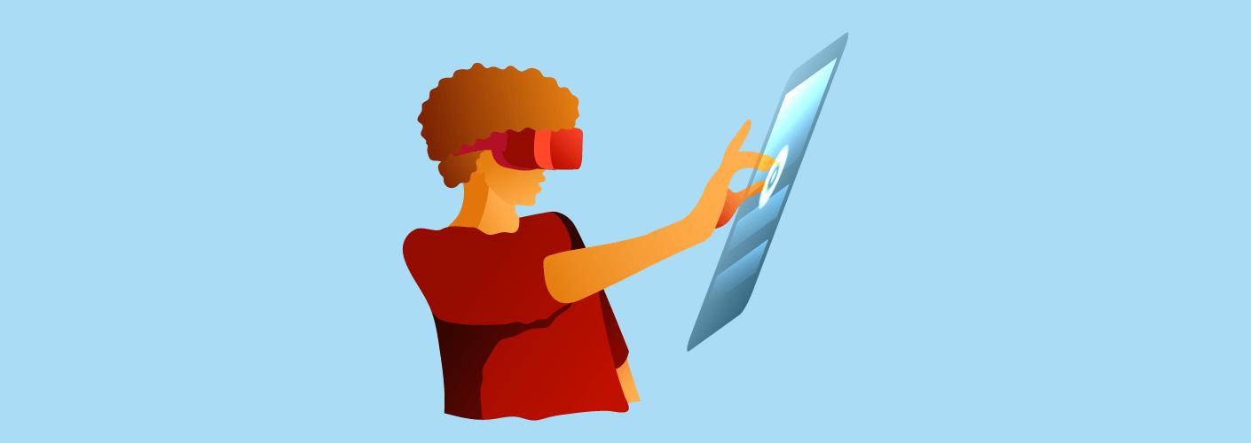 Participante usando tecnologia representando a nova geração de eventos