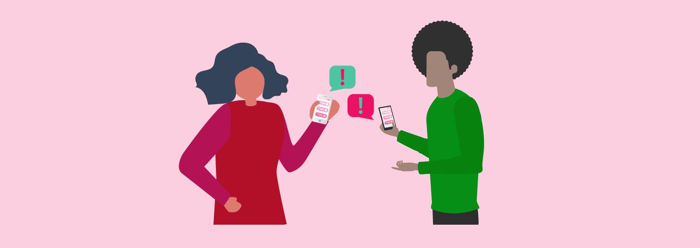 Participantes usando o aplicativo para fazer a comunicação em eventos