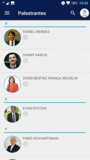 Área de palestrantes do app do congresso IBGC