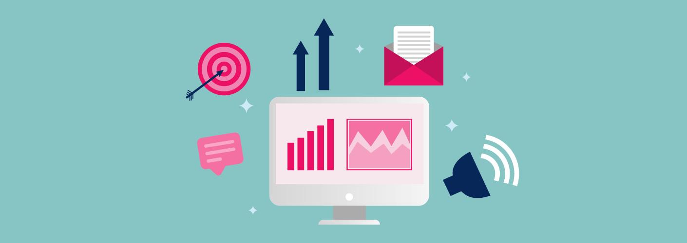 Símbolos de várias estratégias para uma convenção de vendas