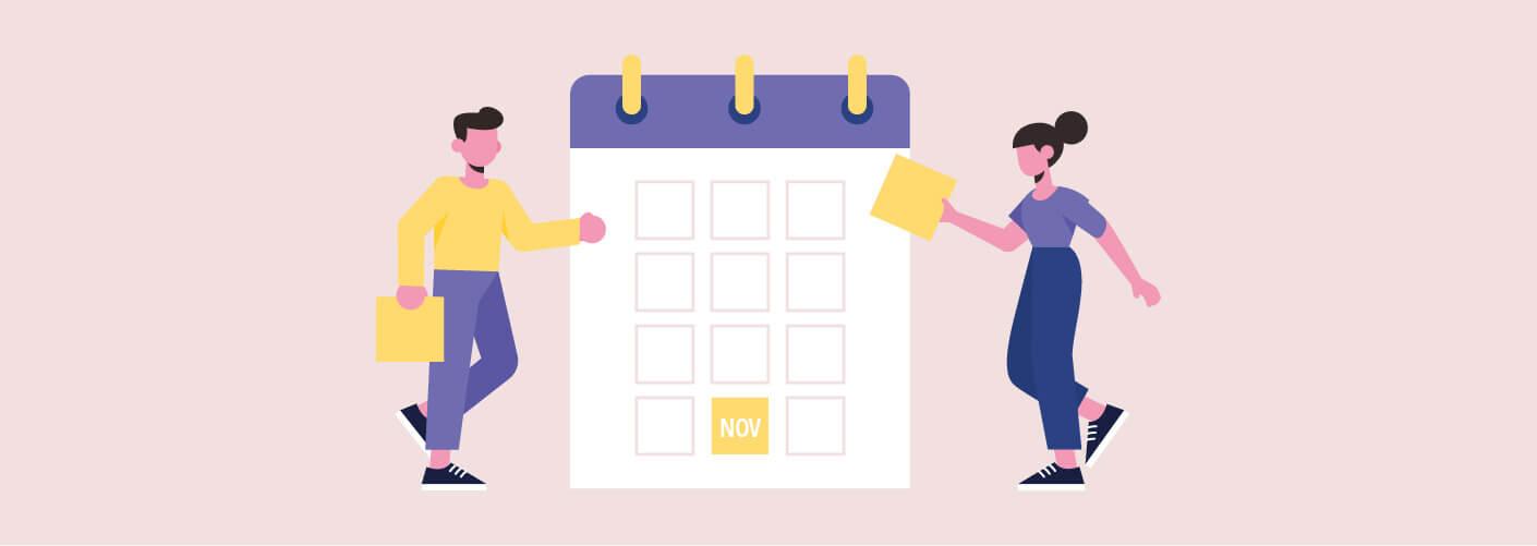 Organizadores incluindo as datas no calendário de eventos novembro 2019