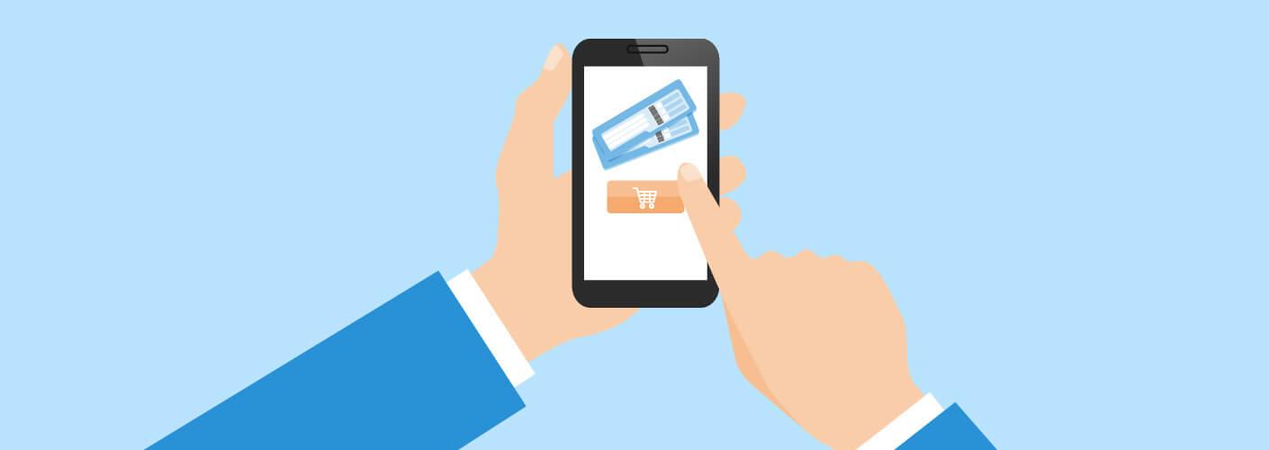 Participante comprando ingresso rápido pelo smartphone