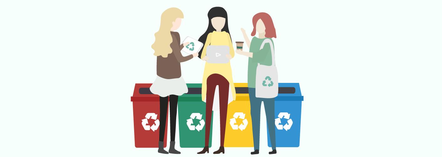 Organizadoras planejando as ações sustentáveis em eventos