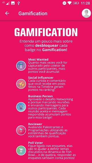 Gamificação no app Inception 2019