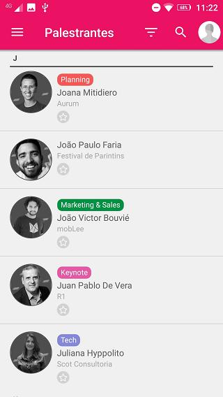 Área de palestrantes no app Inception 2019