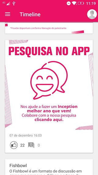 Pesquisa de satisfação no app Inception 2019