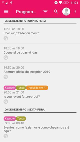 Programação no app Inception 2019
