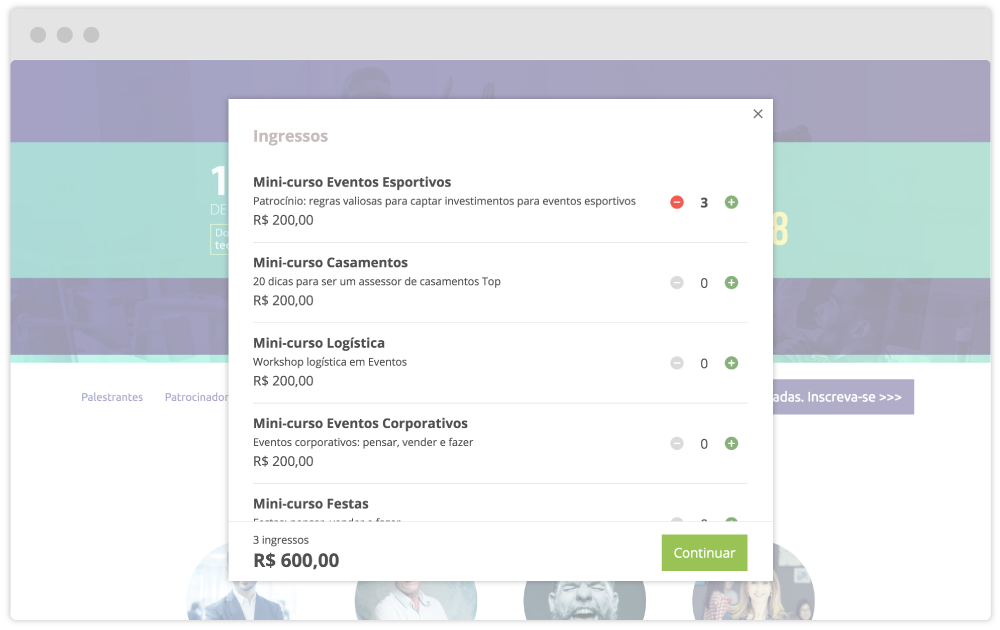 Imagem de uma tela de inscrição e compra de ingresso de eventos do mobLee Register.